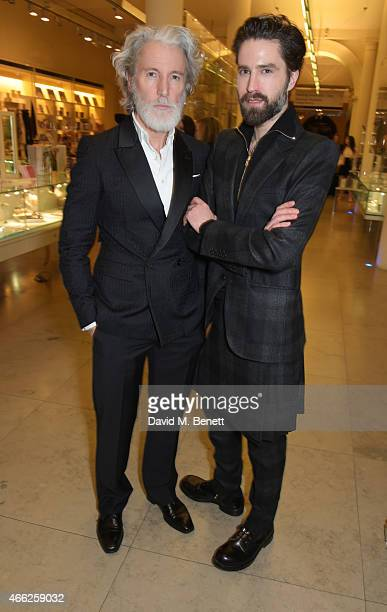 Aiden Shaw and Jack Guinness attend the Alexander McQueen Savage Beauty VIP private view at the Victoria and Albert Museum on March 14 2015 in London...