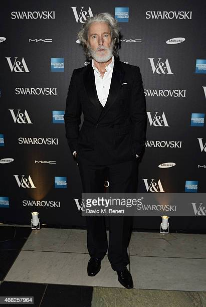 Aiden Shaw arrives at the Alexander McQueen Savage Beauty VIP private view at the Victoria and Albert Museum on March 14 2015 in London England