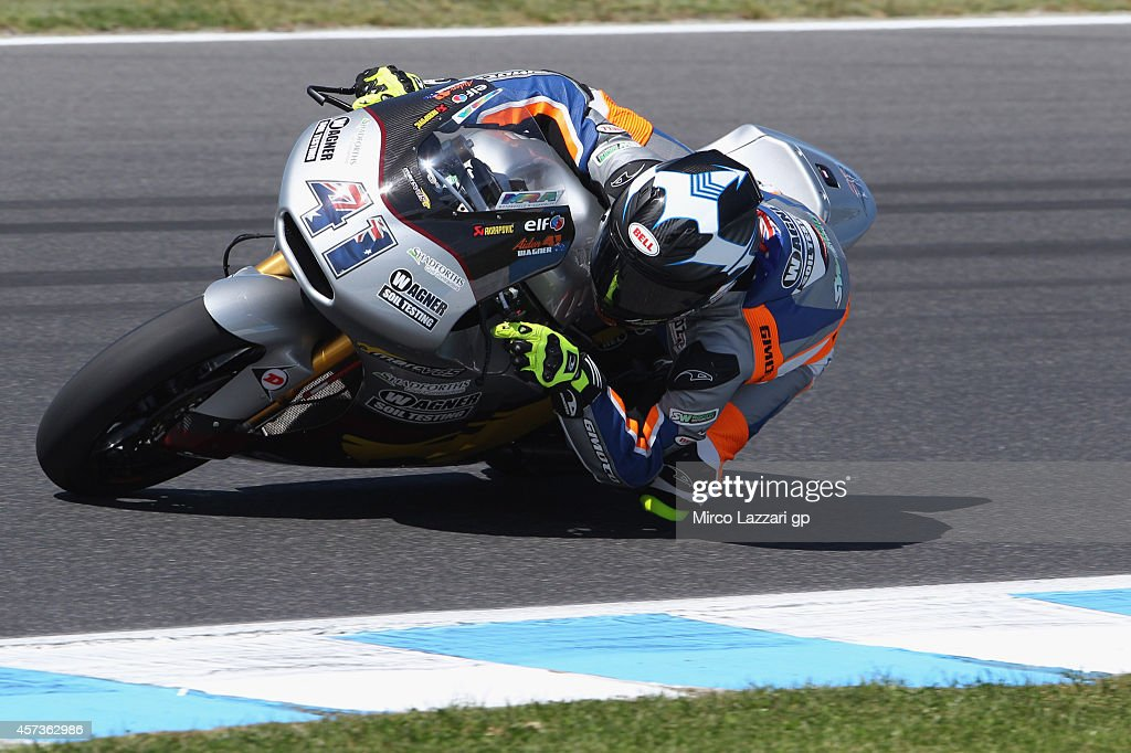 Aiden Wagner of Australia and Marc VDS Racing Team rounds the bend during free practice for the 2014 MotoGP of Australia at Phillip Island Grand Prix Circuit on October 17, 2014 in Phillip Island, Australia.