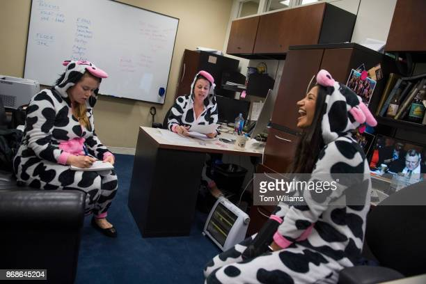 Aides for Sen Steve Daines RMont from left Lindsay Black Marcie Kinzel and Katie Waldman are seen in their Halloween costumes in Hart Building on...