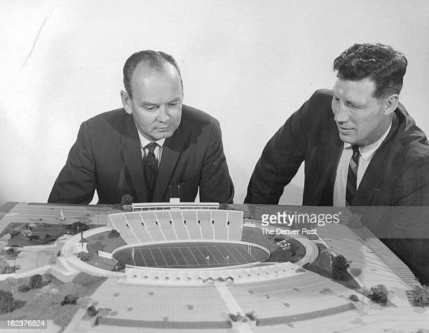 Aides Study Grid Stadium Jim Williams Colorado State University athletic director and his assistant Thruman McGraw view architect's model of proposed...