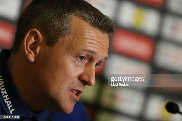 Aidy Boothroyd head coach of England U21 speaks to the media during the England U21 press conference at St Georges Park on June 7 2017 in...