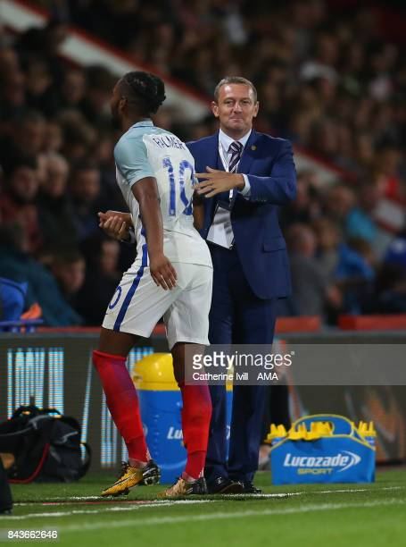 Aidy Boothroyd manager / head coach of England U21 and Kasey Palmer of England U21 during the UEFA Under 21 Championship Qualifier match between...