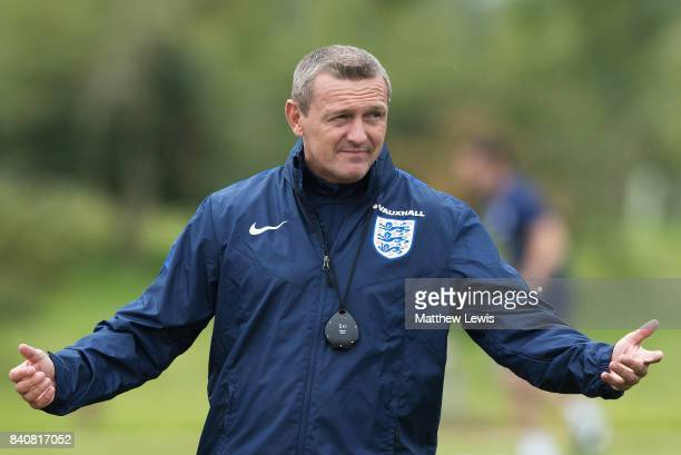 Aidy Boothroyd manager of England gestures during an England Under 21 training session at St George's Park on August 30 2017 in BurtonuponTrent...