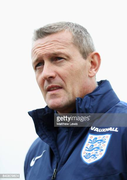 Aidy Boothroyd manager of England looks on after an England Under 21 training session at St George's Park on August 30 2017 in BurtonuponTrent England