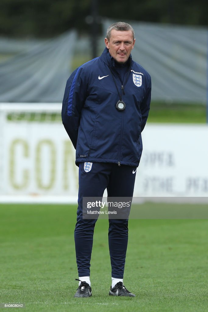 Aidy Boothroyd, manager of England looks on during an England Under 21 training session at St George's Park on August 30, 2017 in Burton-upon-Trent, England.