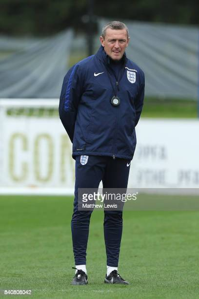 Aidy Boothroyd manager of England looks on during an England Under 21 training session at St George's Park on August 30 2017 in BurtonuponTrent...