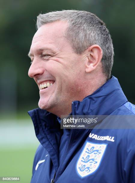 Aidy Boothroyd manager of England smiles after an England Under 21 training session at St George's Park on August 30 2017 in BurtonuponTrent England