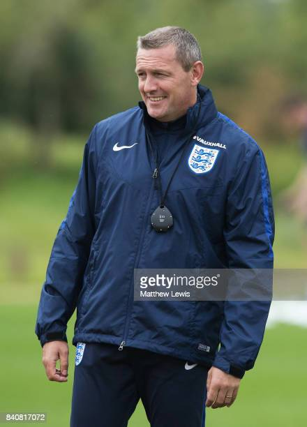 Aidy Boothroyd manager of England smiles during an England Under 21 training session at St George's Park on August 30 2017 in BurtonuponTrent England