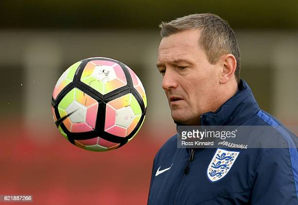 Aidy Boothroyd manager of the England U21 team during a U21 training session at St Georges Park on November 9 2016 in BurtonuponTrent England