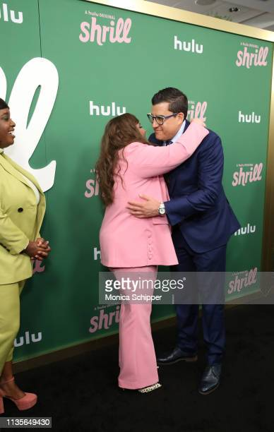 Aidy Bryant greets Andrew SInger as they attend Hulu's 'Shrill' New York Premiere at Film Society of Lincoln Center Walter Reade Theater on March 13...