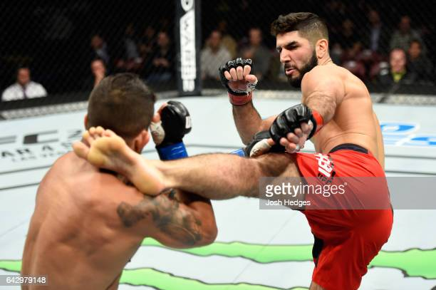 Aiemann Zahabi of Canada kicks Reginaldo Vieira of Brazil in their bantamweight fight during the UFC Fight Night event inside the Scotiabank Centre...