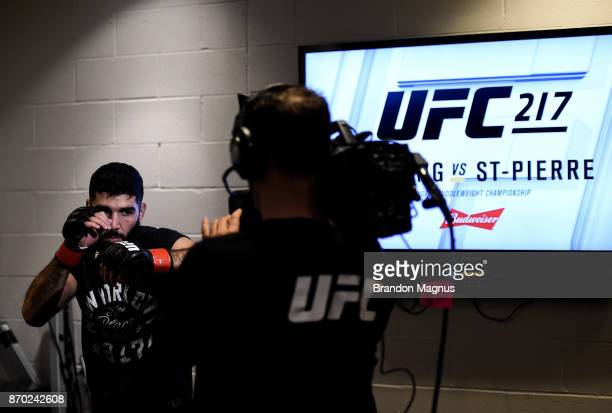 Aiemann Zahabi of Canada warms up backstage during the UFC 217 event inside Madison Square Garden on November 4 2017 in New York City