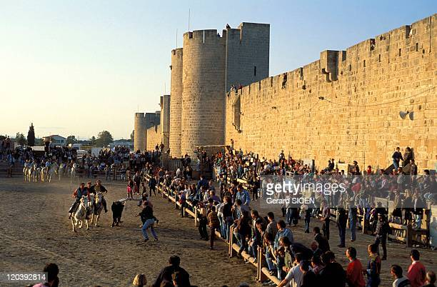 Aigues Mortes, France - Its walls. Bandido during votive festival .