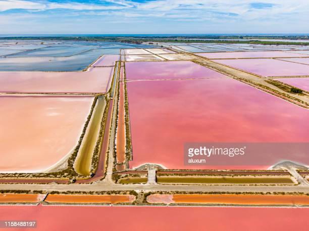 アイグ・モルテス塩沼とフラットカマルグ・フランス - ソルトポンド ストックフォトと画像