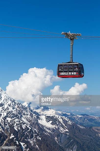 aiguille du midi cable car, chamonix, france - aiguille de midi stock photos and pictures