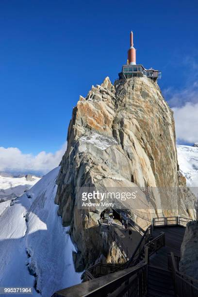 aiguille du midi summit, peak, rock formation with tower, spire - pinnacle peak stock pictures, royalty-free photos & images
