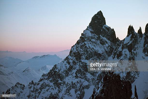Aiguille Noire at sunset seen from Refuge Torino Mont Blanc Aosta Valley Italy