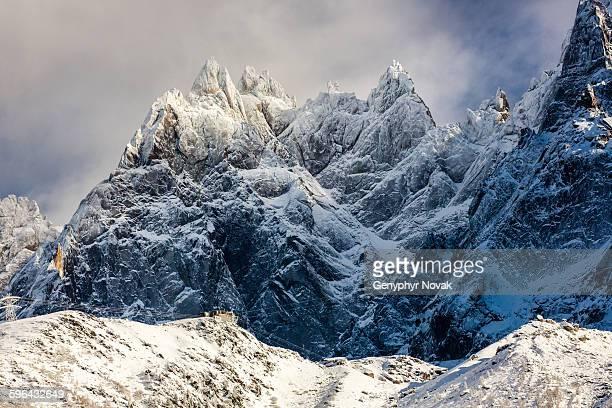 Aiguilles de Chamonix with fresh snow