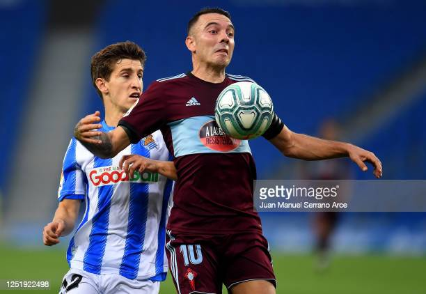 Aihen Muñoz of Real Sociedad and Iago Aspas of RC Celta de Vigo battle for the ball during the Liga match between Real Sociedad and RC Celta de Vigo...