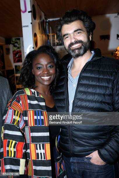 Aiisa Maiga and her husband attend the Launching of the Book 'Mocafico Numero' at Studio des Acacias on February 9 2017 in Paris France