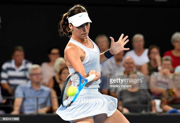 Aija Tomljanovic of Croatia plays a forehand in her match against Johanna Konta of Great Britain during day three of the 2018 Brisbane International...