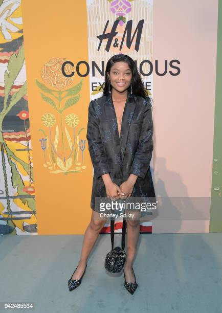 Aijona Alexus attends the HM celebration of 2018 Conscious Exclusive collection at John Lautner's Harvey House on April 5 2018 in Los Angeles...