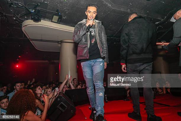 Aika Jones singer of Mic Lowry band , performs on stage during the 'Purpose Tour' Party, Justin Bieber's after concert at Pacha Barcelona on November...