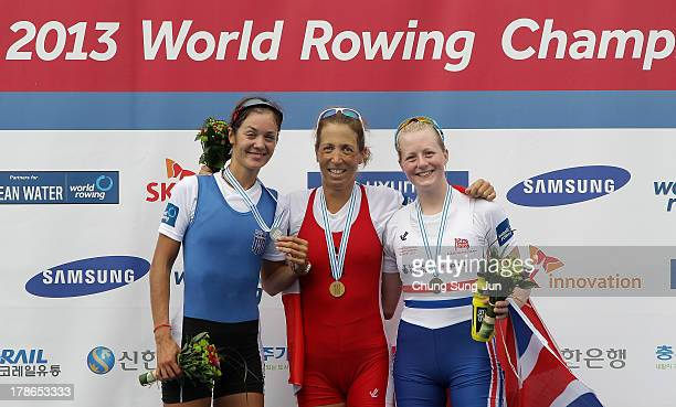 Aikaterini Nikolaidou of Greece Michaela TaupeTraer of Austria and Ruth Walczak of Great Britain pose with their medals after the Lightweight Women's...