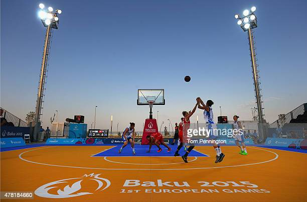 Aikaterini Spatharou of Greece shoots against Alexia Rol of Switzerland in the Women's 3x3 Basketball Pool A match on day eleven of the Baku 2015...