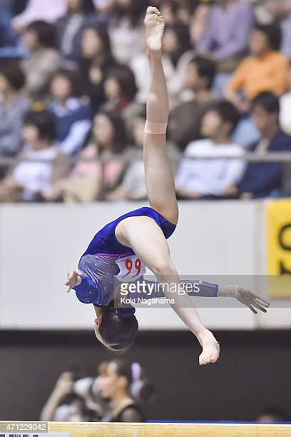 Aiko sugihara competes in the Balance Beam during day three of the All Japan Artistic Gymnastics Individual All Around Championships at Yoyogi...