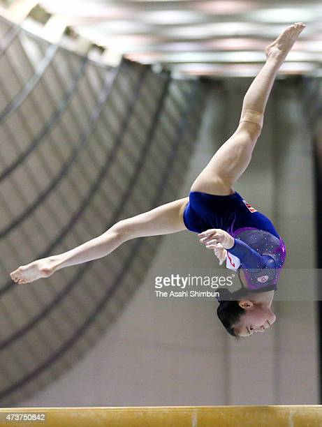 Aiko Sugihara competes in the balance beam of the Women's all Around during the NHK Trophy Artistic Gymnastics Championship at National Yoyogi...