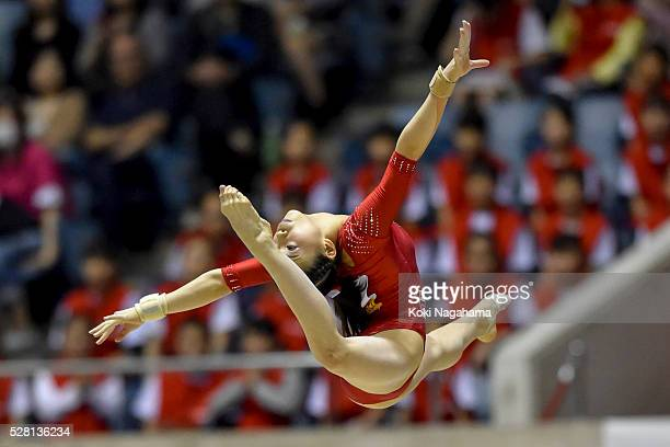 Aiko Sugihara competes in the Floor Exercise during the Artistic Gymnastics NHK Trophy at Yoyogi National Gymnasium on May 4 2016 in Tokyo Japan
