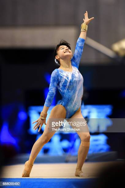 Aiko Sugihara competes in the Floor of the Women's AllAround during day two of the Artistic Gymnastics NHK Trophy at the Tokyo Metropolitan Gymnasium...