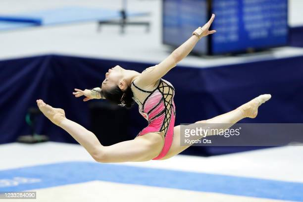 Aiko Sugihara competes in the Women's Floor Exercise qualifying round on day one of the 75th All Japan Artistic Gymnastics Apparatus Championships at...