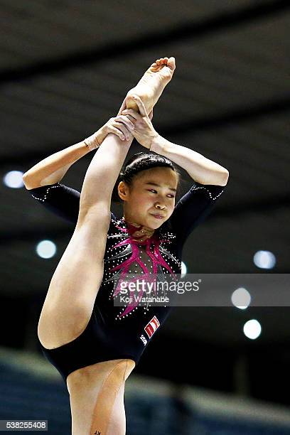Aiko Sugihara lon the pommel horse during the AllJapan Gymnastic Appratus Championships at Yoyogi National Gymnasium on June 5 2016 in Tokyo Japan