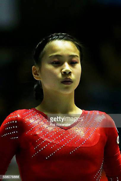 Aiko Sugihara looks on the AllJapan Gymnastic Appratus Championshipsat Yoyogi National Gymnasium on June 4 2016 in Tokyo Japan