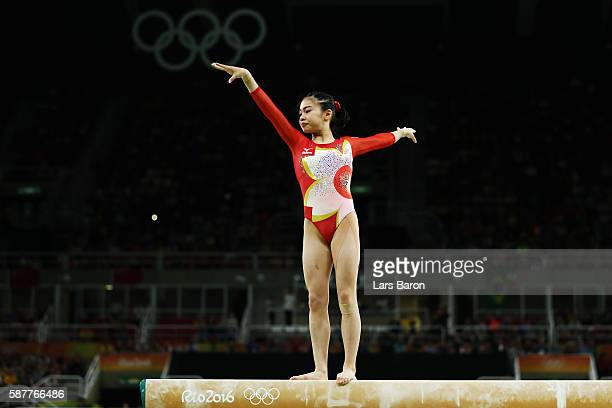 Aiko Sugihara of Japan competes on the balance beam during the Artistic Gymnastics Women's Team Final on Day 4 of the Rio 2016 Olympic Games at the...