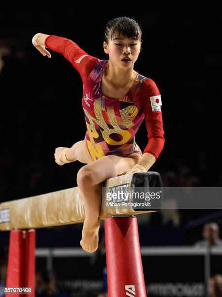 Aiko Sugihara of Japan competes on the balance beam during the qualification round of the Artistic Gymnastics World Championships on October 4 2017...