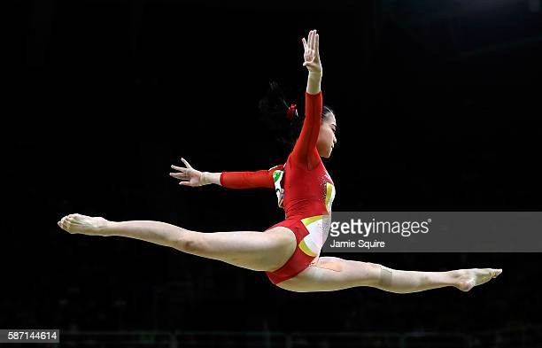 Aiko Sugihara of Japan competes on the balance beam during Women's qualification for Artistic Gymnastics on Day 2 of the Rio 2016 Olympic Games at...
