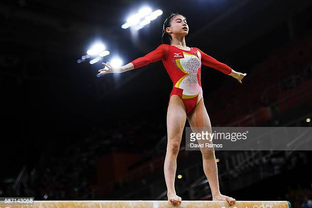 Aiko Sugihara of Japan competes on the balance beamduring Women's qualification for Artistic Gymnastics on Day 2 of the Rio 2016 Olympic Games at the...