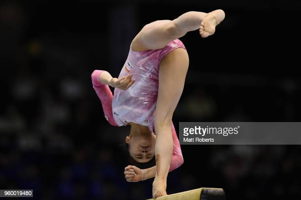 Aiko Sugihara of Japan competes on the Beam during day one of the 57th Artistic Gymnastics NHK Trophy at the Tokyo Metropolitan Gymnasium on May 19...