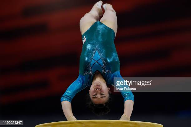 Aiko Sugihara of Japan competes on the Vault during day one of the Artistic Gymnastics NHK Trophy at Musashino Forest Sport Plaza on May 18, 2019 in...