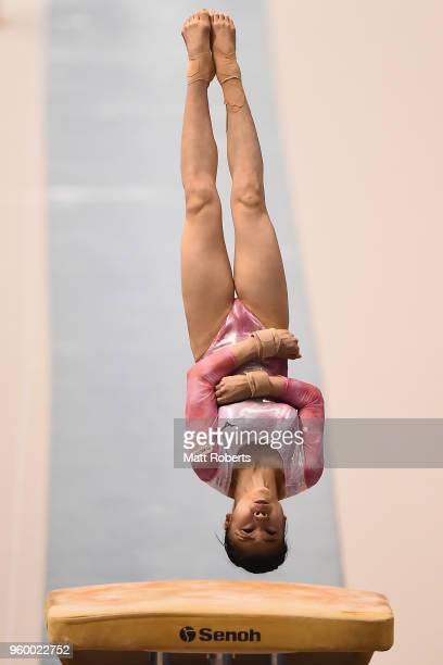 Aiko Sugihara of Japan competes on the Vault during day one of the 57th Artistic Gymnastics NHK Trophy at the Tokyo Metropolitan Gymnasium on May 19...