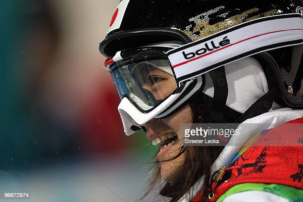 Aiko Uemura of Japan competes in the women's freestyle skiing aerials qualification day 2 of the Vancouver 2010 Winter Olympics at Cypress Mountain...