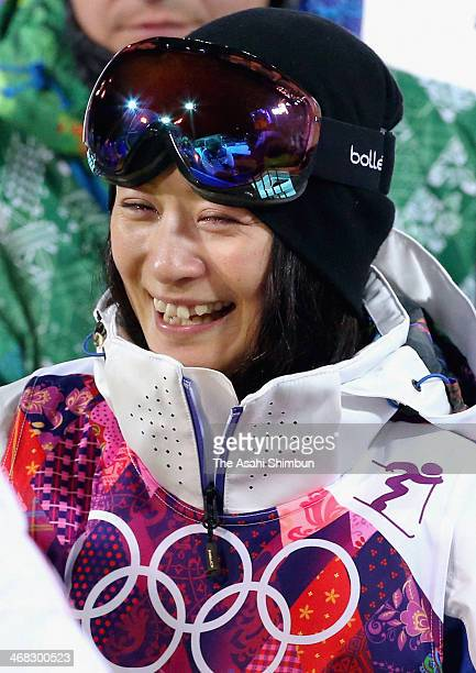 Aiko Uemura of Japan greets her supporters after placing 4th in the Ladies' Moguls Final on day one of the Sochi 2014 Winter Olympics at Rosa Khutor...