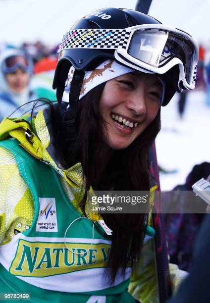 Aiko Uemura of Japan is interviewed by the media following her 4th place finish in the Ladies Mogul Finals during the 2010 Freestyle FIS World Cup on...