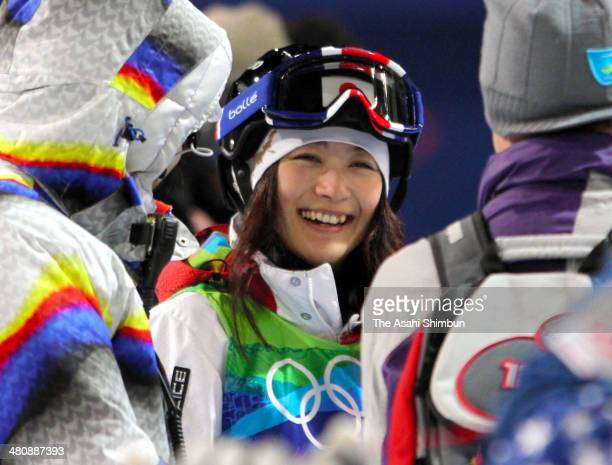 Aiko Uemura of Japan is seen during a training session of the Ladies' Mogul during the Vancouver Winter Olympics at Cypress Mountain Resort on...