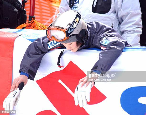 Aiko Uemura of Japan shows her dejection after finishing 12th in the FIS Freestyle Skiing World Cup Women's Mogul at Listel Inawashiro on February 15...