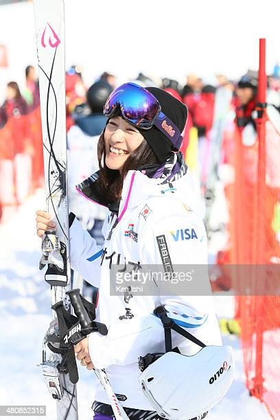 Aiko Uemura of Japan smiles after her final competition in the Women's Finals of the All Japan Freestyle Ski Championships at the Hakuba 47 Winter...